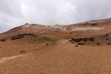 Geothermal Area Hverir in Iceland. Tourist and natural attractions in Iceland