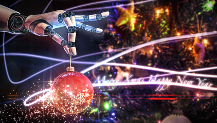 Christmas ball held by a robotic hand 3D rendering