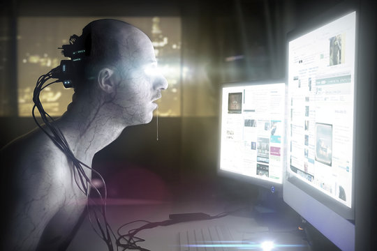 man addicted by technology, photominipulation concept