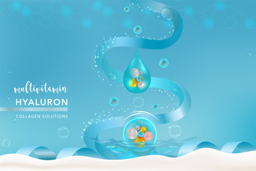Blue Collagen Serum drop, cosmetic advertising background ready to use, holiday concept luxury skin care ad, vector illustration.