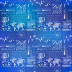 Futuristic user interface elements and charts concept, complicated seamless pattern on blue