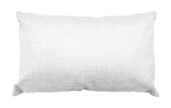 White pillow isolated on white background. Soft cushion made from burlap material. ( Clipping path )