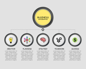 infographics template design with five steps for success. Business circle template with options for brochure, diagram, workflow, timeline, web design.