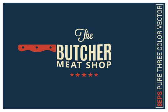 butcher meat shop logo on blue background
