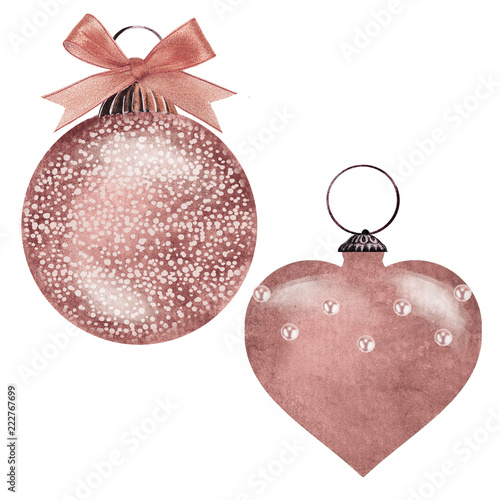 Rose Gold Christmas Ornaments Stock Photo And Royalty Free Images