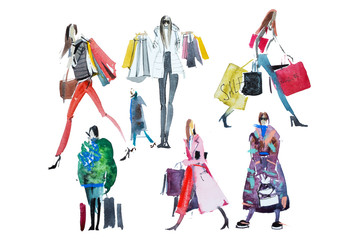 Hand drawn watercolor people with shopping bags. Fashion, sale Wall mural