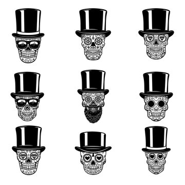 Set of mexican sugar skull in vintage hat and sunglasses. DAY OF THE DEAD. Design element for poster, greeting card, banner, t shirt, flyer, emblem.