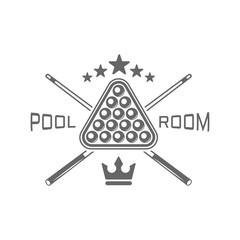 Pool room, billiard club monochrome vector emblems