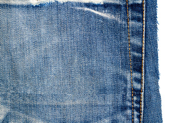 Piece of blue jeans fabric