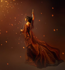 young kunoichi girl samurai in a long dress with a lotus tattoo on the back, holding katana in hands. the child of war, princess becomes a warrior. art photo in orange and brown colors, glare, sparks.
