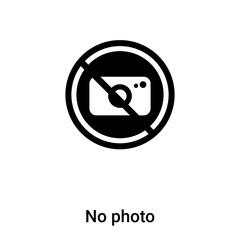 No photo icon vector isolated on white background, logo concept of No photo sign on transparent background, black filled symbol