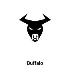 Buffalo icon vector isolated on white background, logo concept of Buffalo sign on transparent background, black filled symbol