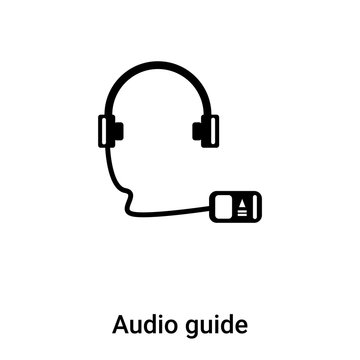 Audio guide icon vector isolated on white background, logo concept of Audio guide sign on transparent background, black filled symbol
