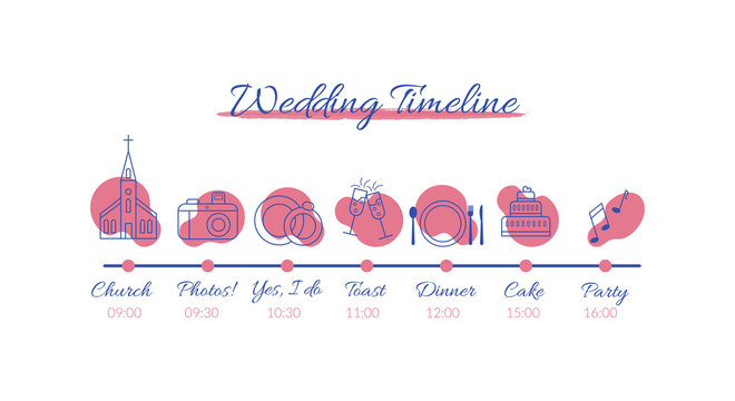 Wedding timeline infographics. Vector illustration with icons on wedding theme isolated on white background.