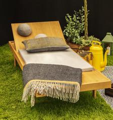 Wooden garden lounger