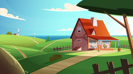 Colorful countryside landscape with a beautiful village house. Rural location. Cartoon modern vector illustration