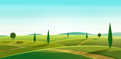 Poster Turquoise Road on the hills. Summer landscape. Rural valley view. Beautiful green fields with and meadow, mountains and blue sky