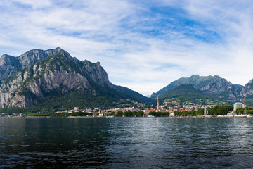 Panorama of Lecco on Lake Como with the mountains in the background