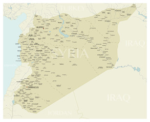 Syria vector map with cities, rivers and neighboring states