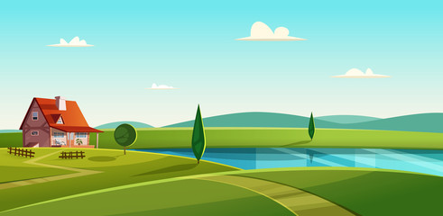 Zelfklevend Fotobehang Turkoois Rural landscape with cottage on the lake. Country house on the lakeshore. Farmland vector illustration