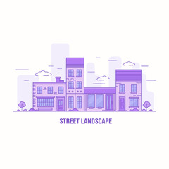 Street landscape illustration in violet color with different houses and trees. Vector background.