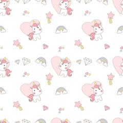 pattern pastel chibi unicorn