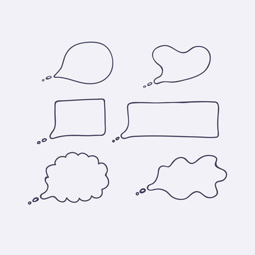 Hand drawn outline speech bubles  isolated on white background.Vector illustration.