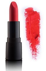 Color lipstick with smudged stroke isolated