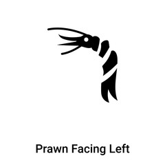 Prawn Facing Left icon vector isolated on white background, logo concept of Prawn Facing Left sign on transparent background, black filled symbol