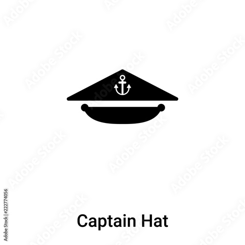 c97bc16f62f Captain Hat icon vector isolated on white background