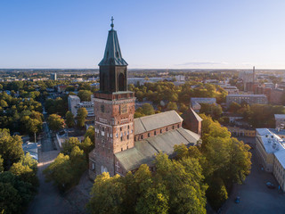 Foto op Aluminium Luchtfoto Aerial view of Turku Cathedral at sunny morning