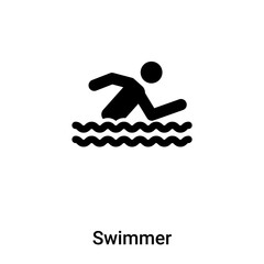 Swimmer icon vector isolated on white background, logo concept of Swimmer sign on transparent background, black filled symbol