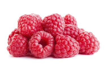 heap of ripe raspberry fruits isolated on white background