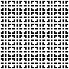 Abstract seamless pattern background. Maze of black geometric design elements isolated on white background. Vector illustration.
