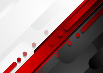 Fotobehang - Red, black and grey geometric tech abstract background