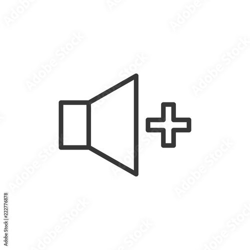 Volume increase icon  Vector thin line speaker with a plus