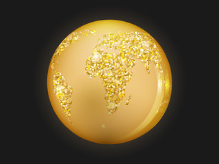 Planet earth is golden colored, with sparkles on a dark background.