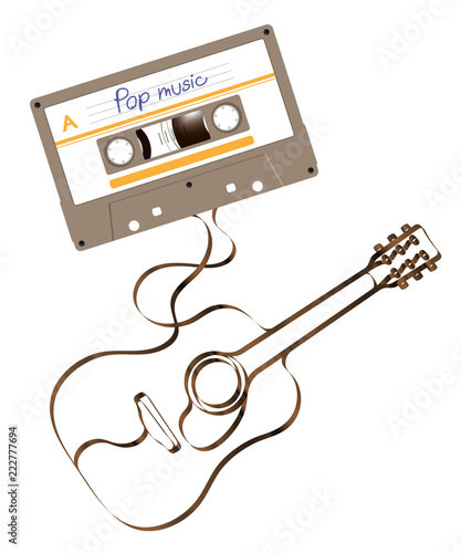 Compact Audio Cassette Green Color And Acoustic Guitar Shape Made