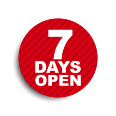 red circle banner element seven days open