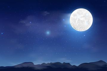 Happy Mid Autumn Festival design with full moon. Rabbits on night background with beautiful full moon. Fotoväggar