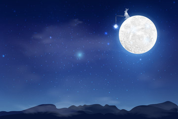 Blue dark Night sky background with full moon, clouds and stars.