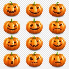Pumpkin Set Isolated Transparent Background