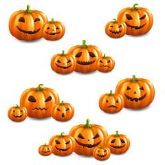 Pumpkin Set Isolated White Background