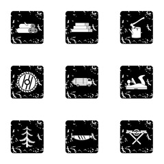 Sawing woods icons set. Grunge illustration of 9 sawing woods vector icons for web
