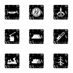 Firewood icons set. Grunge illustration of 9 firewood vector icons for web