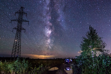 Beautiful night landscape with milky way