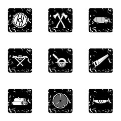 Sawing icons set. Grunge illustration of 9 sawing vector icons for web