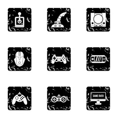 Game console icons set. Grunge illustration of 9 game console vector icons for web