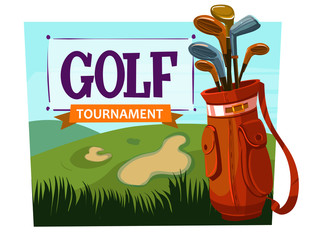 Golf. Cartoon vector poster