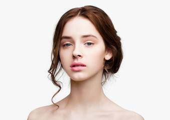 Beauty cute fashion model with natural make up